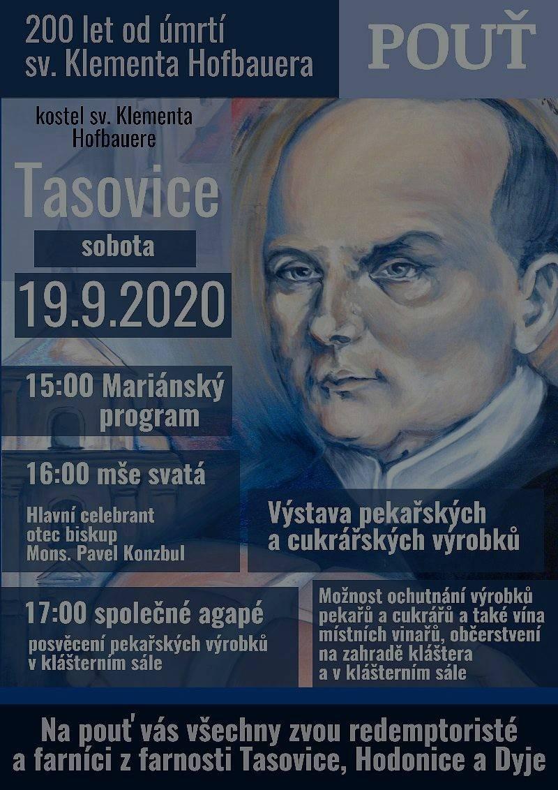 Pozvánka na hlavní pouť 200. výročí smrti sv. Klementa Hofbauera v Tasovicích
